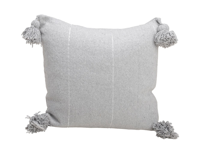 Grey Pom Pom Pillow Cover with Silver Stripes