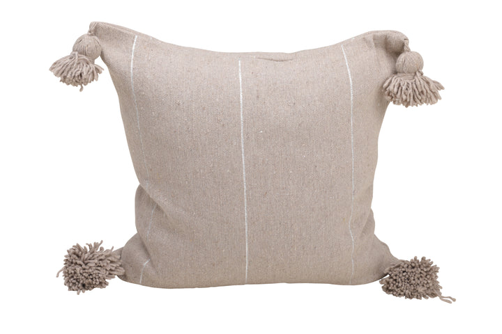 Greige Pom Pom Pillow Cover with Silver Stripes