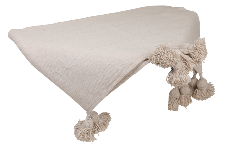 Beige Pom Pom Throw Blanket with Silver stripes