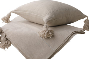 Beige Pom Pom Pillow Cover with Silver Stripes