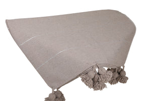 Greige Pom Pom Throw Blanket with Silver stripes