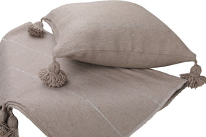 Pack: Pom Pom Throw and 1 Pillow cover - Greige with silver stripes