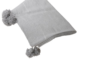 Pack: Pom Pom Throw and 1 Pillow cover - Grey with silver stripes