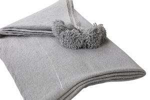 Grey Pom Pom Throw Blanket with Silver stripes