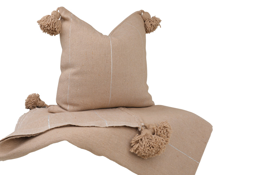 Pack: Pom Pom Throw and 1 Pillow cover - Sand with silver stripes