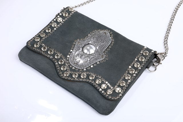 grey handbag, handmade in Morocco, very unique berber clutch, made of suede