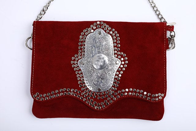 burgundy red handbag, handmade in Morocco, very unique berber clutch, made of suede