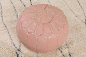 Baby Pink Moroccan Leather Pouf