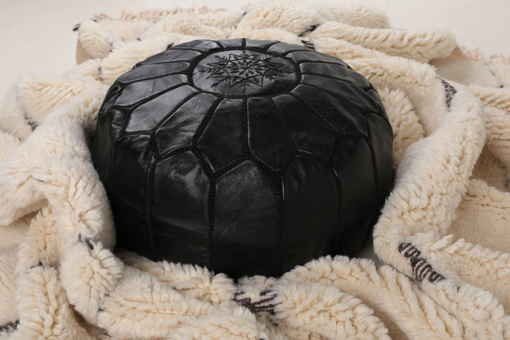 Black Moroccan Leather Pouf