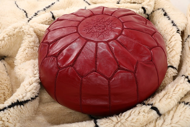 burgundy red moroccan leather pouf