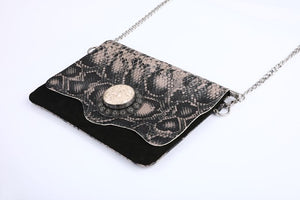 chic handmade handbag, boho, black purse