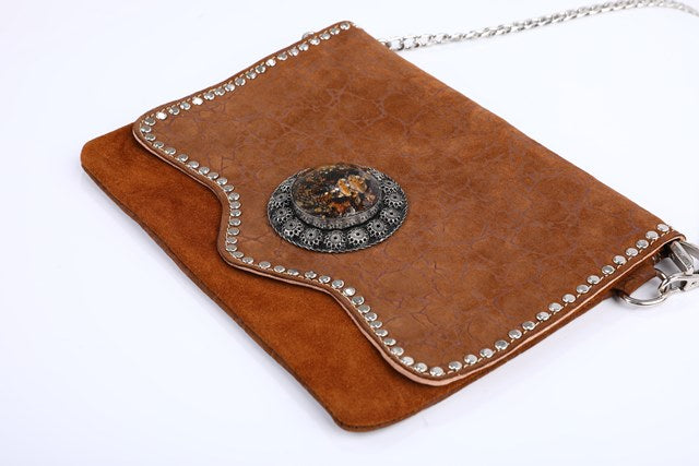 chic handmade handbag, boho, brown purse