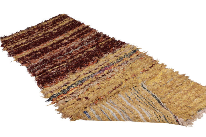 vintage boucherouite moroccan rug, two main colors mustard and burgundy, made of recycled fabrics, runner, perfect as hallway rug, kitchen rug and kids room rug