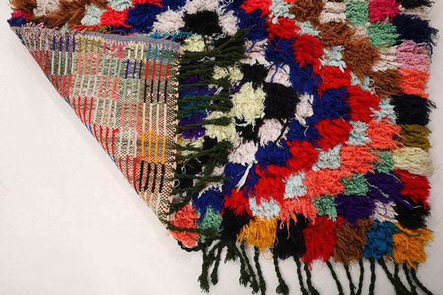 Moroccan rug: vintage boucherouite rug, handmade in Morocco with recycled rags, colorful moroccan rug, can be used as kitchen rug, kids room rug, hallway rug, entryway rug