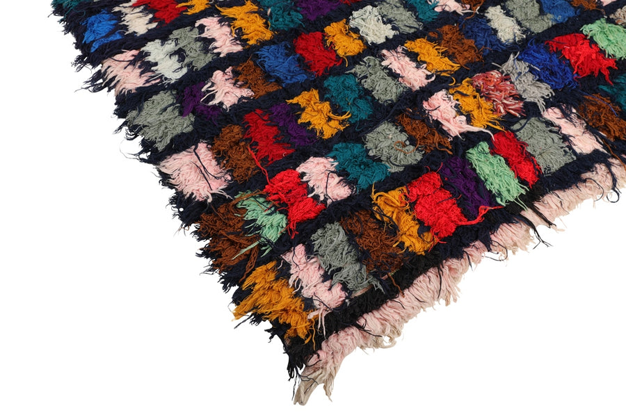vintage boucherouite moroccan rug, handmade with recycled rags, colorful squares. Multicolored rug that can be used in living room, kitchen, kids room