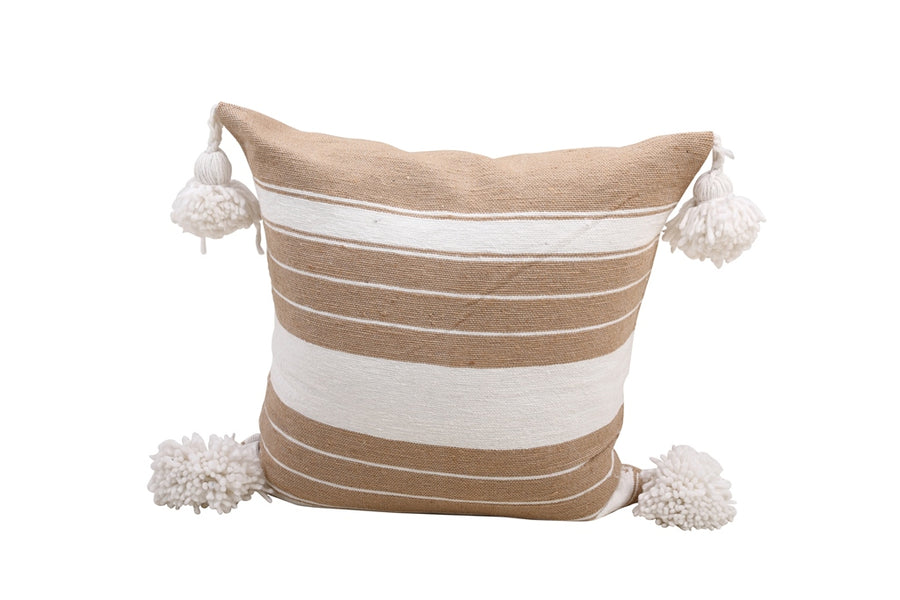 Beige & White Pom Pom Pillow Cover