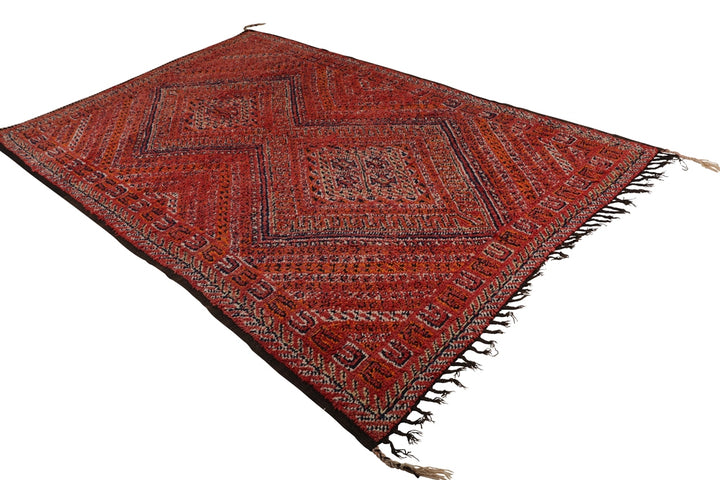 vintage beni mguild moroccan rug, coral / orange / red rug, can be used as living room rug, bedroom rug, dining room rug