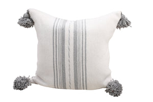 Light Grey & White Pom Pom Pillow Cover