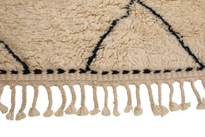 white rug, black diamond, moroccan rug handmade with 100% natural wool, soft and fluffy moroccan rug, beni ourain, mrirt, can be used as living room rug, bedroom rug