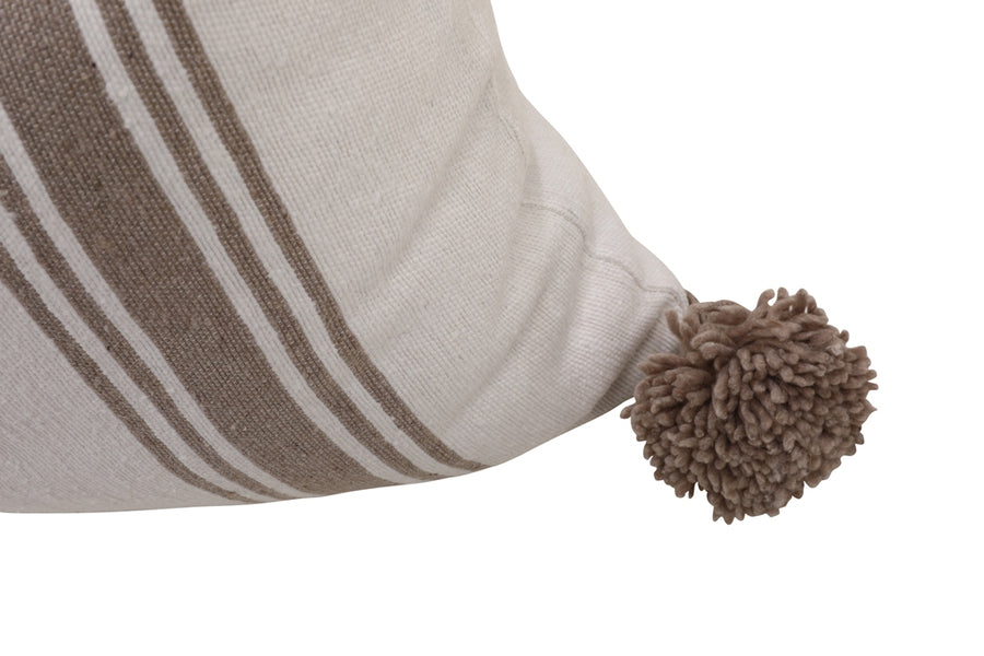 White & Beige Pom Pom Pillow Cover