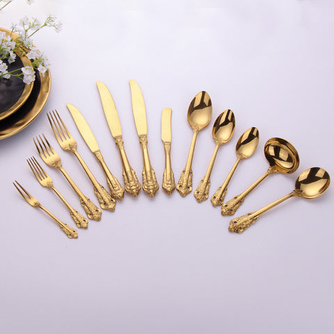 13pcs Gold Royal Style Vintage Carving Flatware Set