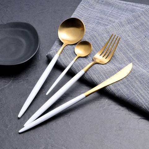 White Gold Flatware Set 4-Piece