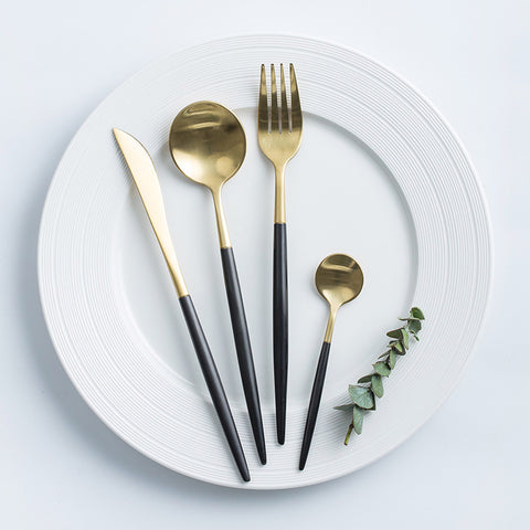 Black Gold Flatware Set 4-Piece