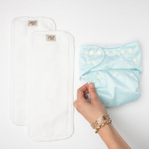pēpi collection - Azure. Reusable nappies