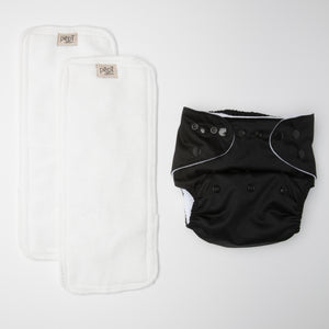 pēpi collection - Jet Black. Reusable nappies