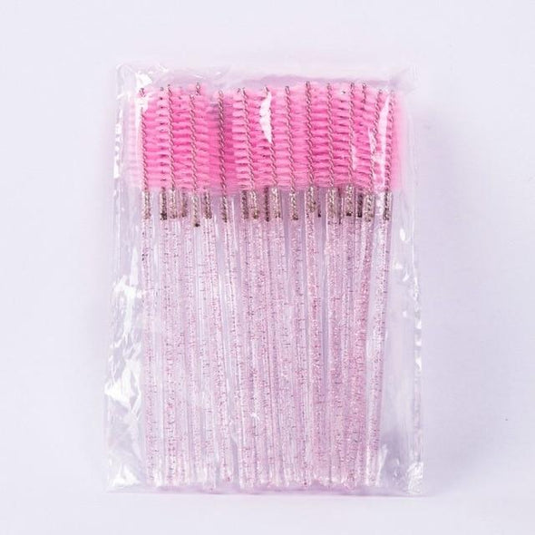 50Pcs/Lot Glitter Makeup Brushes Eyelash brushes Veyelashfactory pink