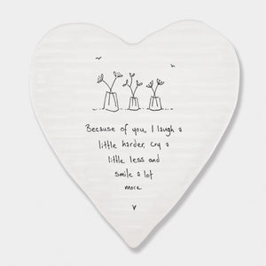 East of India - Heart Shaped Coaster - 'Because of You'