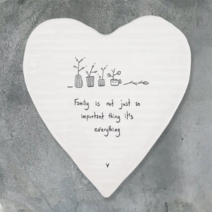 East of India - Heart Shaped Coaster - 'Family is Everything'