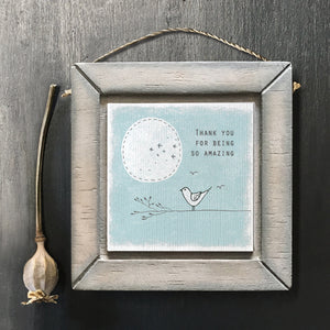 "East of India - Wood Plaque - ""Thank you for being so amazing"""