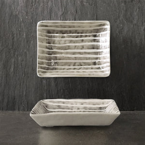 East of India - Hand Painted Oblong Dish - Painted Stripe