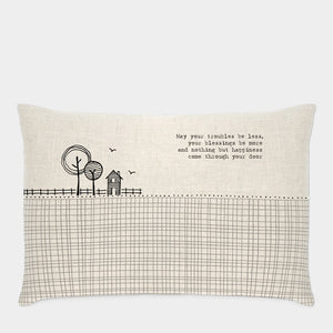 East of India - Oblong Cushion - 'May your troubles be less...'
