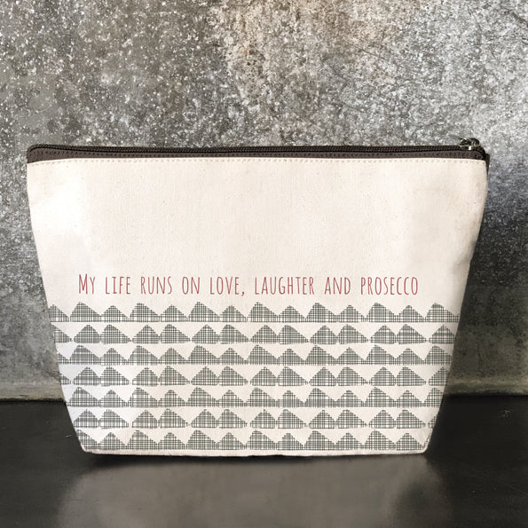 East of India - Cosmetics Bag - 'My Life Runs on Love...'