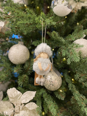 Gift of Love Tree Ornament, Soft Blue-Grey - 14 cm