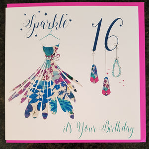 "White Cotton Cards - ""Sparkle...it's Your Birthday"" 16th Birthday Greeting Card"