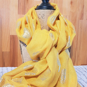 Mustard Coloured Lightweight Women's Scarf with Silver Foil Family Tree Pattern