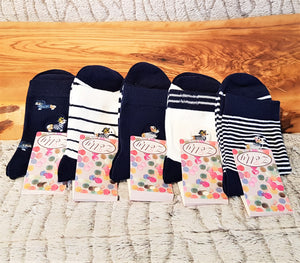 Navy Blue and White Sausage Dog Embroidered Socks, Multiple Options Available