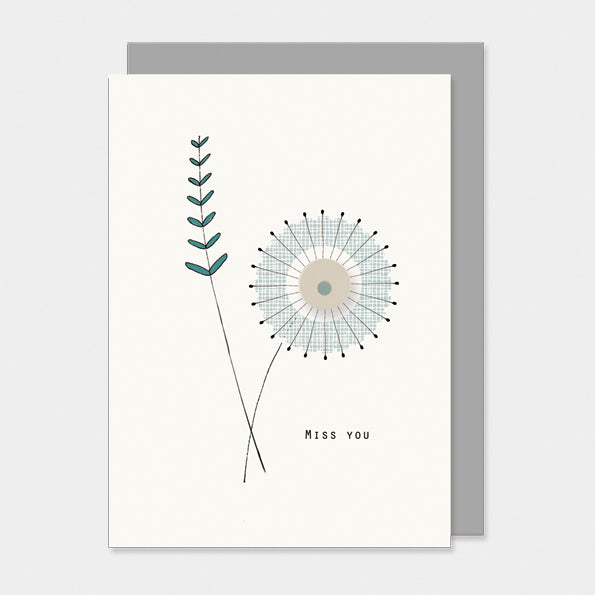 "*NEW* East of India - ""Miss You"" Modern Floral Greeting Card"