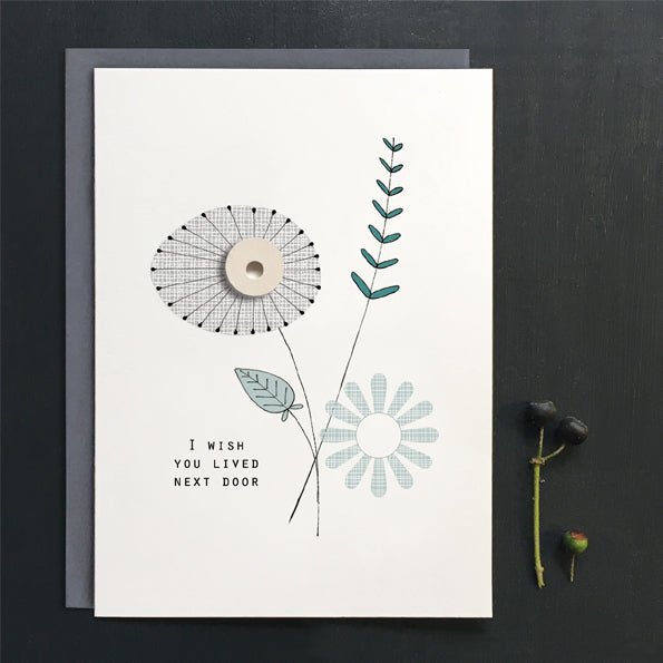 "*NEW* East of India - ""Wish You Lived Next Door"" Modern Floral Greeting Card"