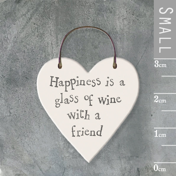 East of India - Small Wooden Heart-shaped Tag - 'Happiness is a glass…'
