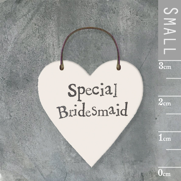 East of India - Small Wooden Heart-shaped Tag - 'Special Bridesmaid'