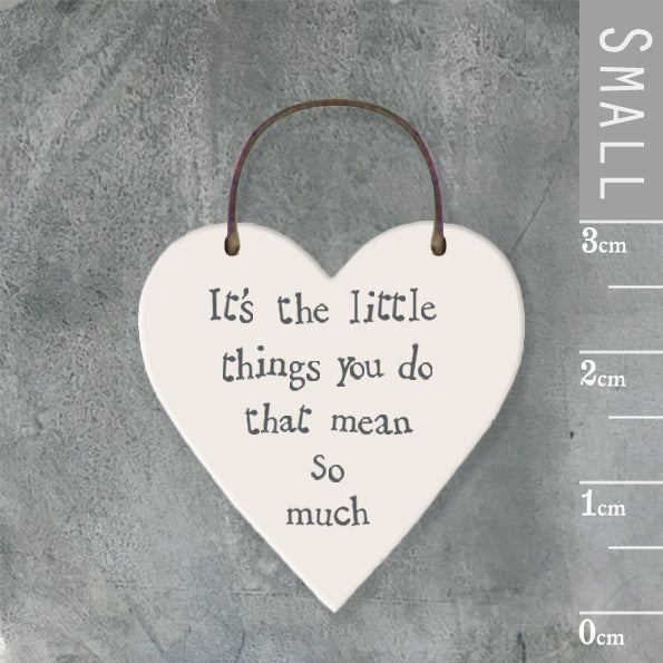 East of India - Small Wooden Heart-shaped Tag - 'It's the little things…'