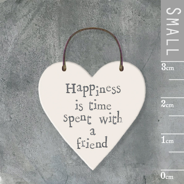 East of India - Small Wooden Heart-shaped Tag - 'Happiness is time…'