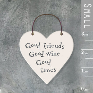 East of India - Small Wooden Heart-shaped Tag - 'Good friends…'