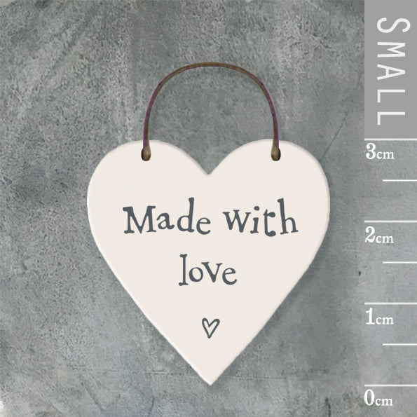 East of India - Small Wooden Heart-shaped Tag - 'Made with love'