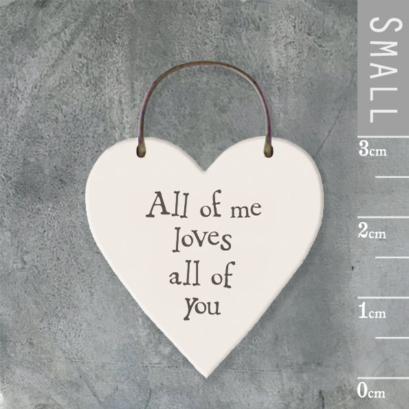 East of India - Small Wooden Heart-shaped Tag - 'All of me loves all of you'