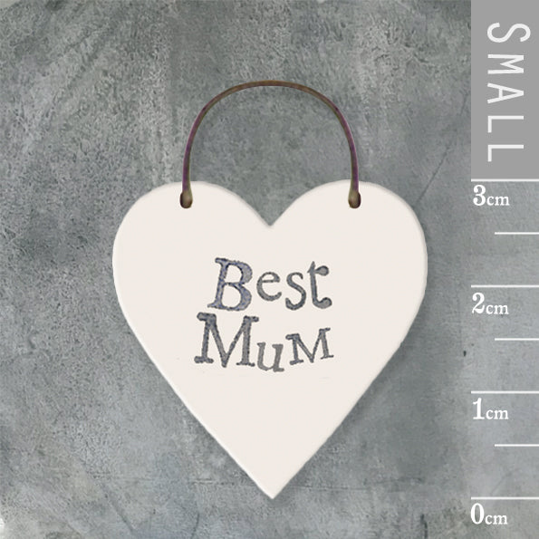 East of India - Small Wooden Heart-shaped Tag - 'Best Mum'